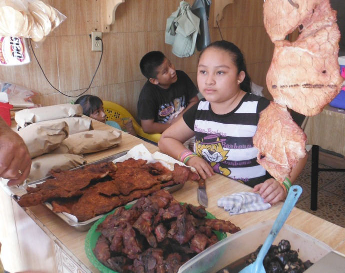 dried pork carne shop, girl & meat