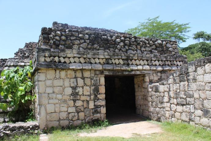 Ek Balam entrance with turned stone
