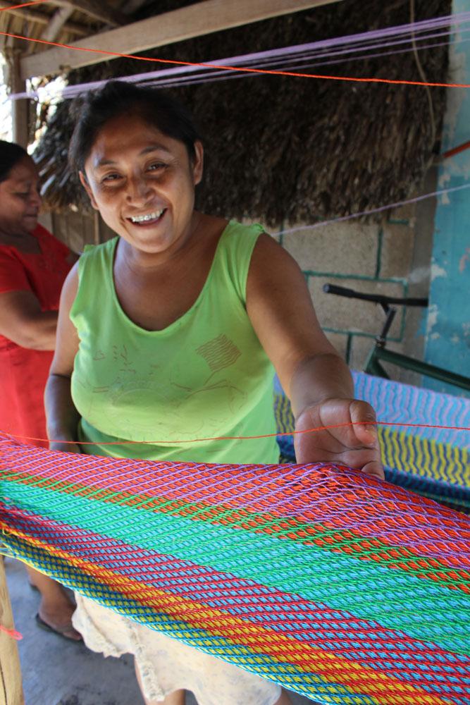 Ek Balam hammock girl smiling