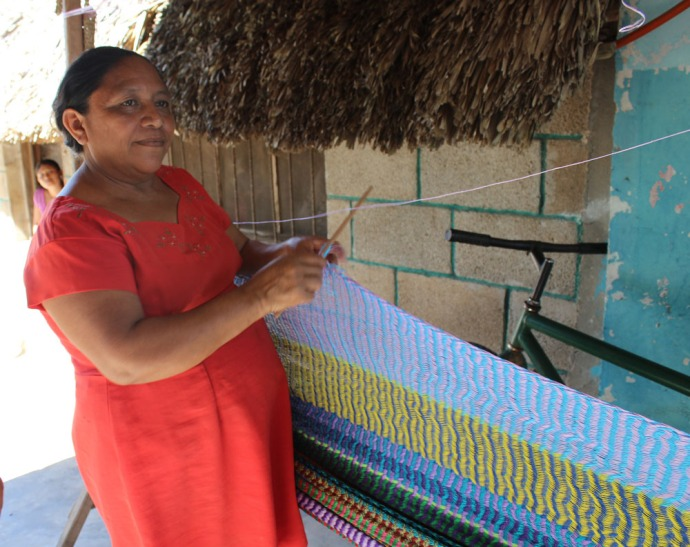 Ek Balam hammock lady demonstrating