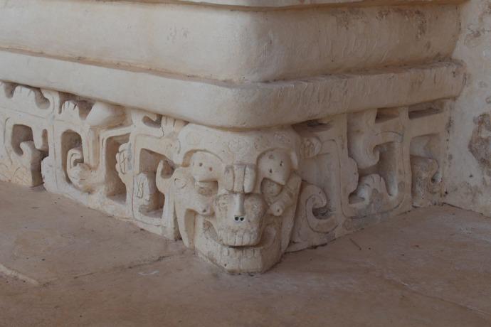 Ek Balam tomb skull in corner
