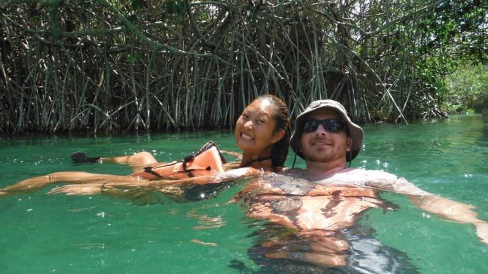 Sian Ka'an kendr and Brian floating