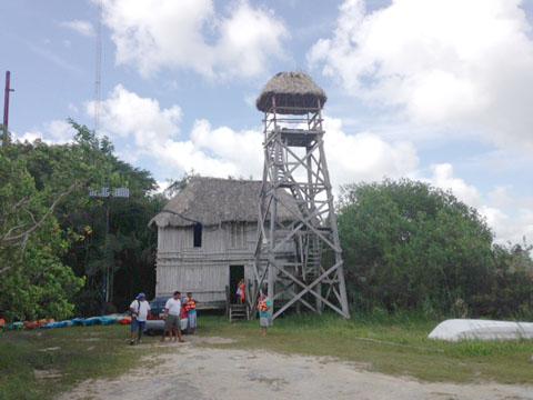 Sian Ka'an tower, palapa shack
