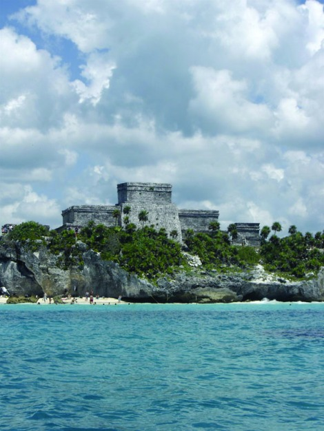 Tulum ruins from water vert