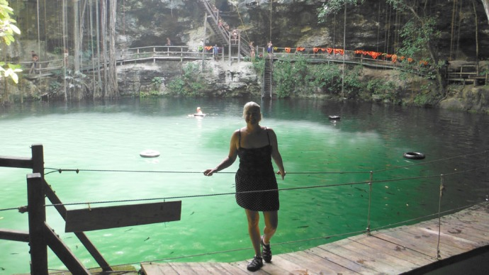 Xcanche cenote Jamie on bridge