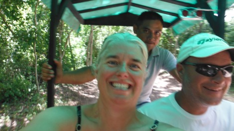 Xcanche cenote selfy on trike, jamie, wally