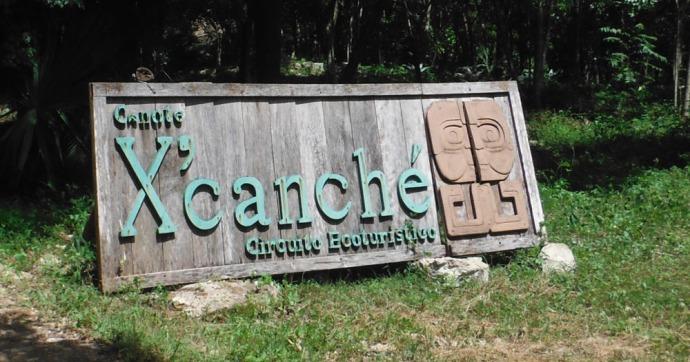 Xcanche cenote sign