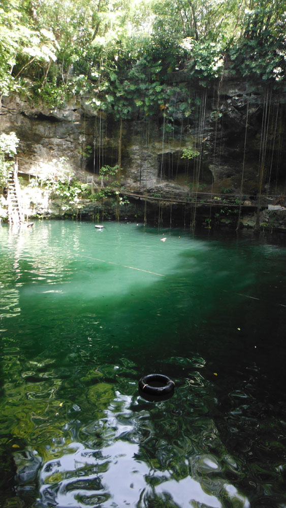 Xcanche cenote vert with tire pic