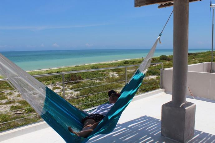Rio Lagartos beach jamie in hammock