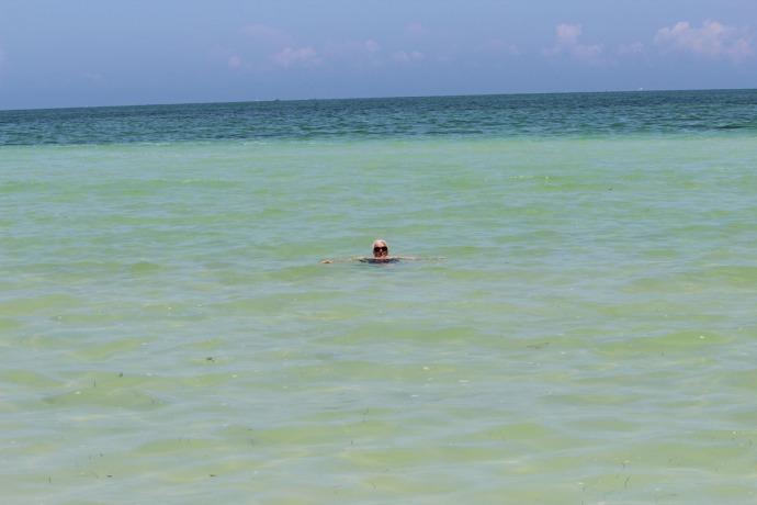 Rio Lagartos beach jamie in water