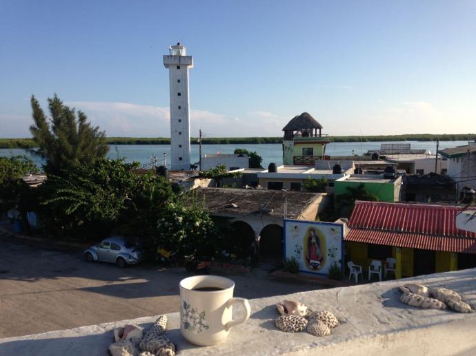 Rio Lagartos coffee on terrace, lighthouse