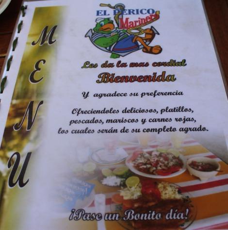 Rio Lagartos, El Perico menu