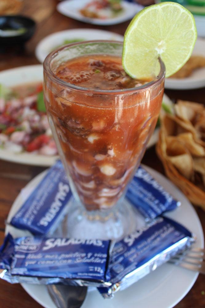 Rio Lagartos, El Perico shrimp cocktail