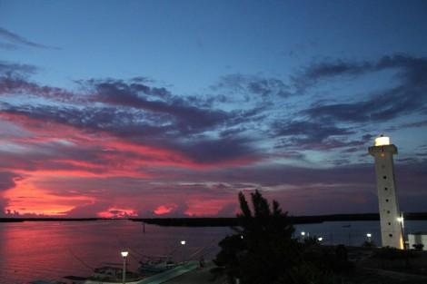 Rio Lagartos Sunset, lighthouse glowing
