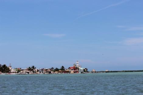 Rio Lagartos town from water closer
