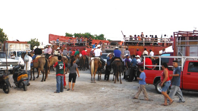 San Felipe bullfight, cowboys waiting outside