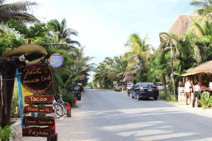 Tulum Beach Road view