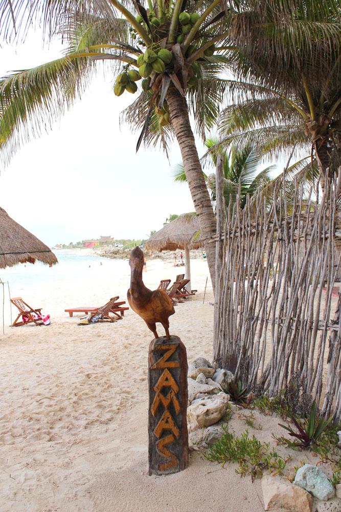 Tulum Beach Zamas pelican pole