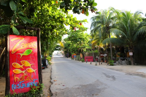 Tulum Beach Zamas sign & road
