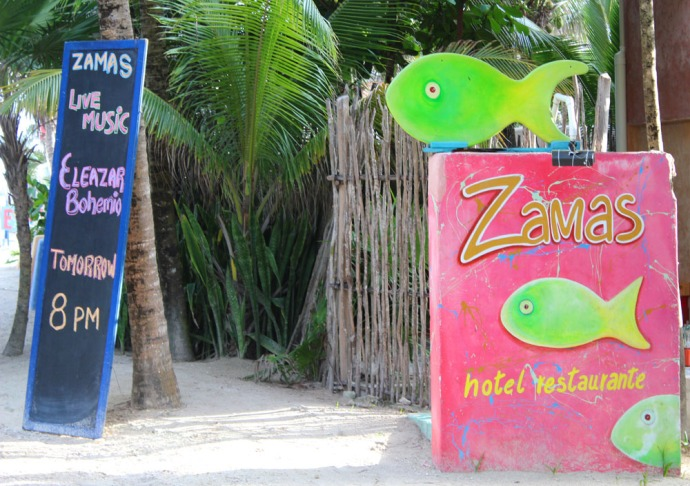 Tulum Beach Zamas sign