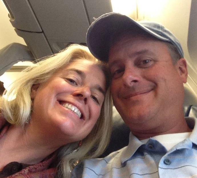 Jamie & Wally on plane to Rome