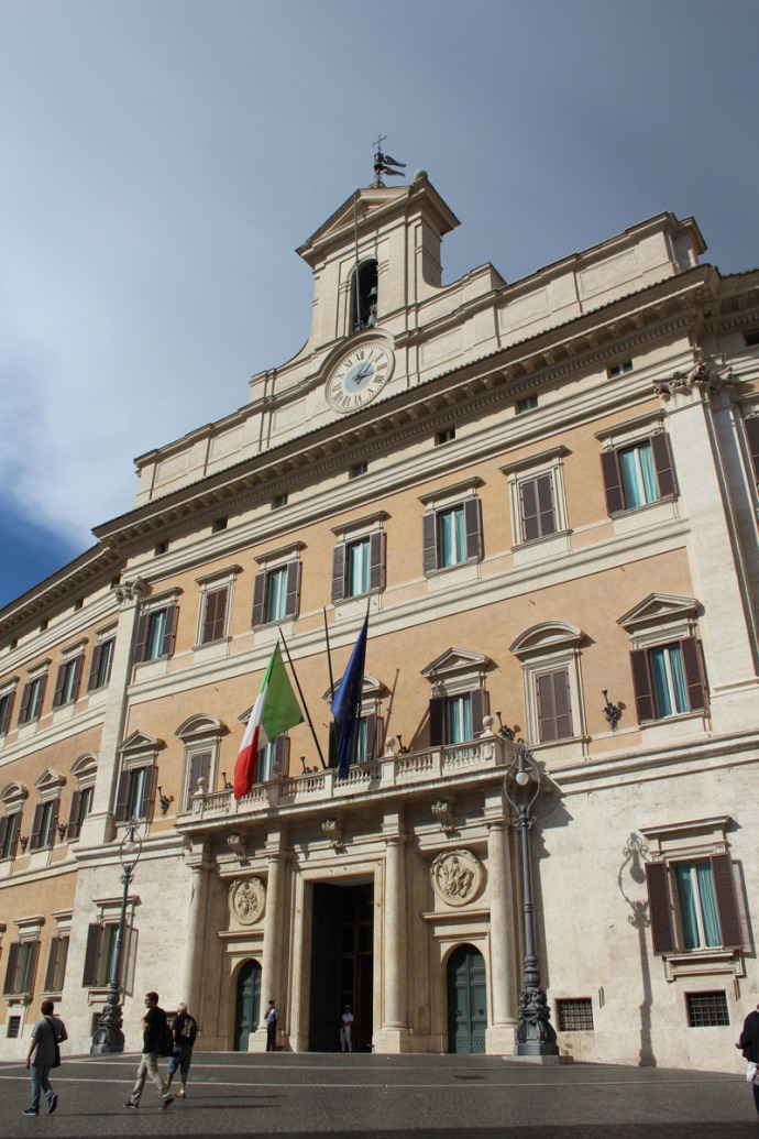 Rome bldg with flags