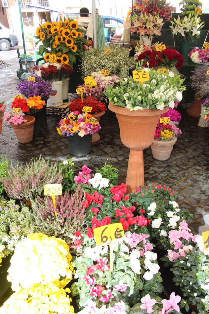 Rome Camp dei Fiori flower tent vert