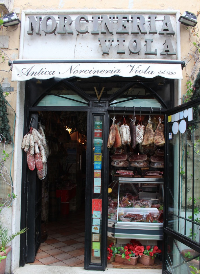 Rome Camp dei Fiori meat shop