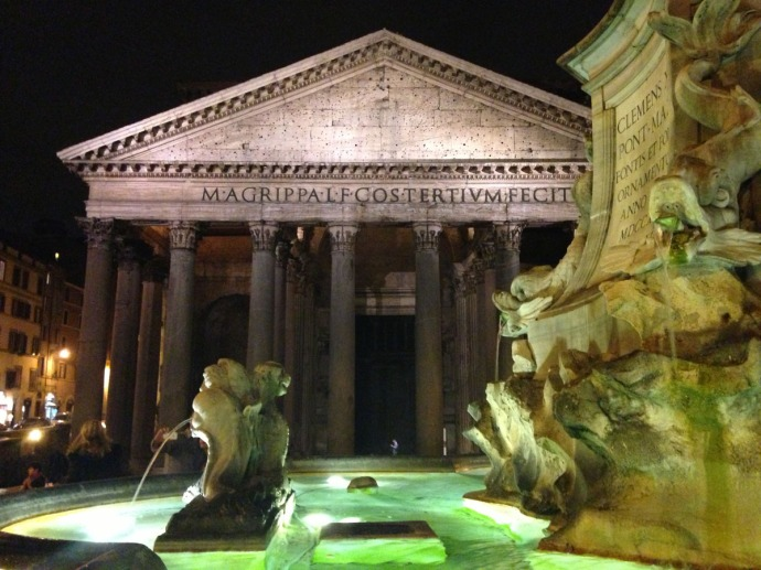 Rome Pantheon & fountain at night, full front