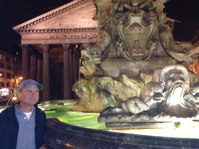 Rome Pantheon, Fountain, Wally at night