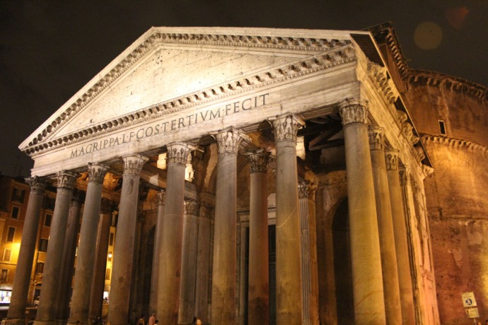 Rome Pantheon front at night