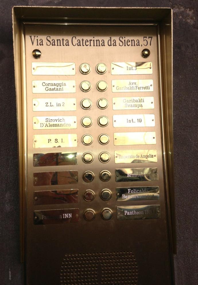 Rome Pantheon Inn door call button