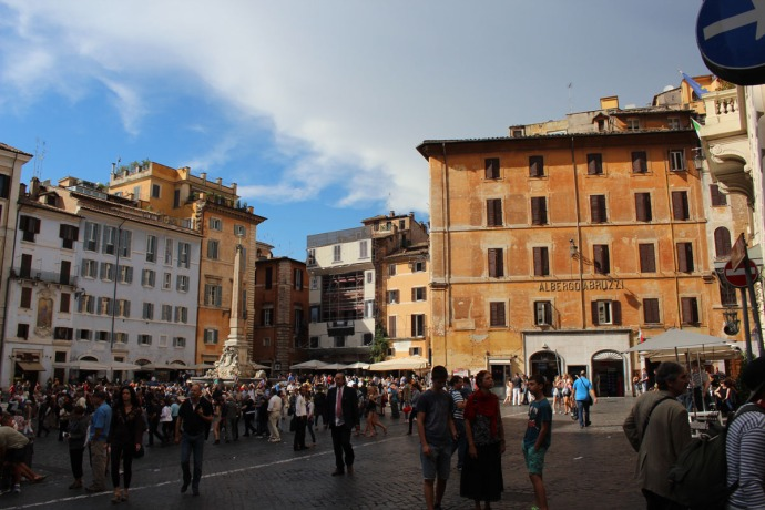 Rome Pantheon Piazza in daytime