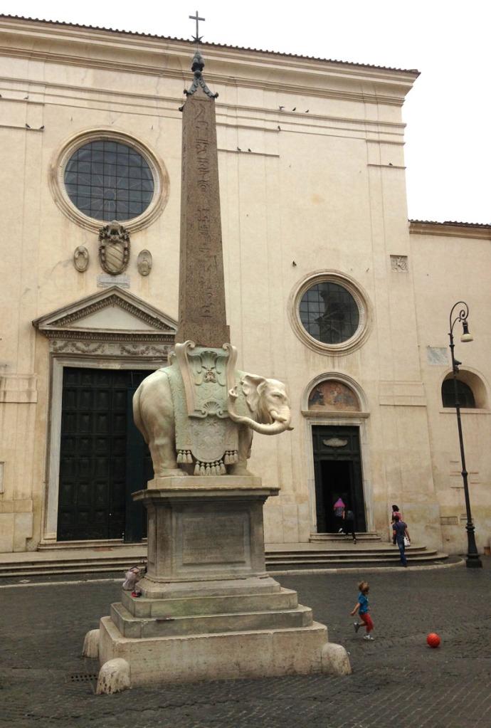 Rome Piazza della Minerva elephant, child with ball