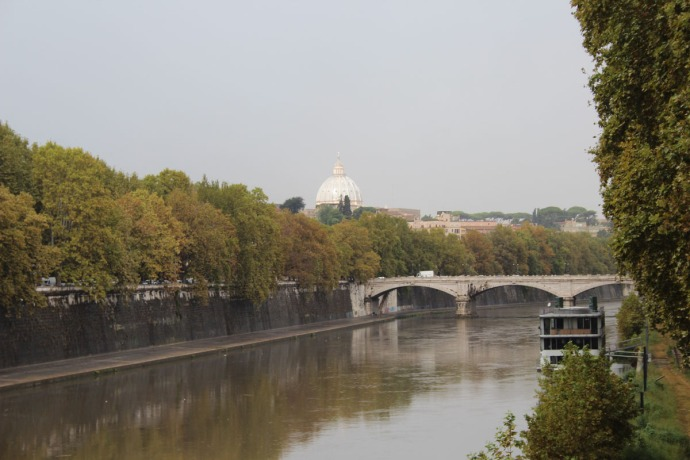 Rome Ponte Sisto Bridge, Tevere River view