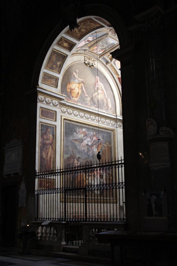 Rome Santa Maria dark and painted alcove