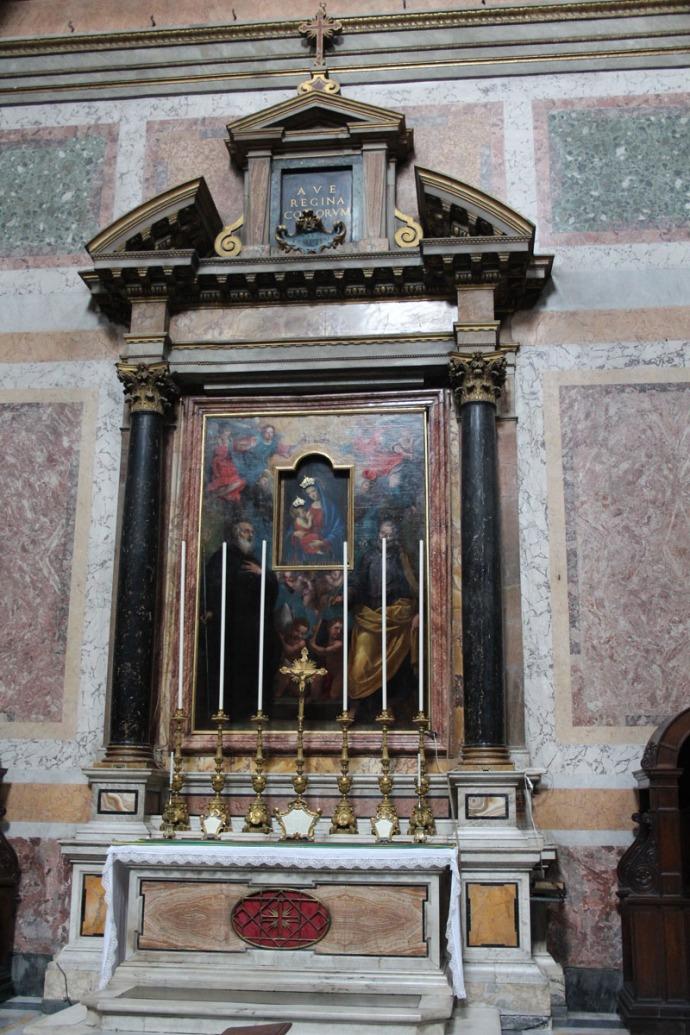 Rome Santissima Trinità dei Pellegrini alter & painting