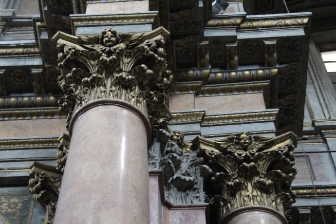 Rome Santissima Trinità dei Pellegrini column tops