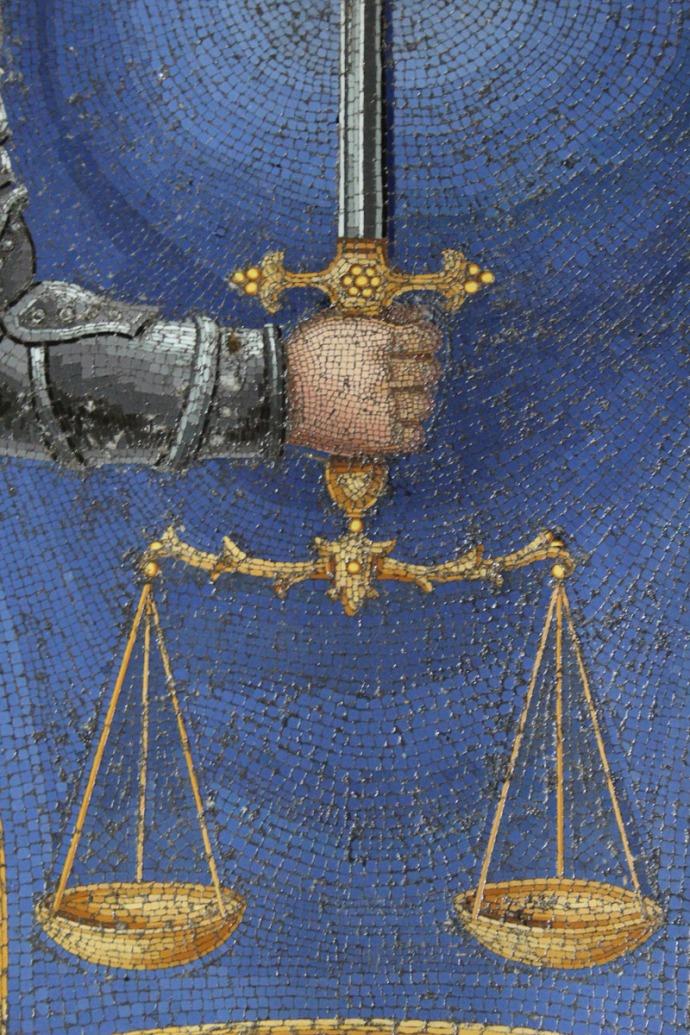Rome Santissima Trinità dei Pellegrini mosaic hand closer
