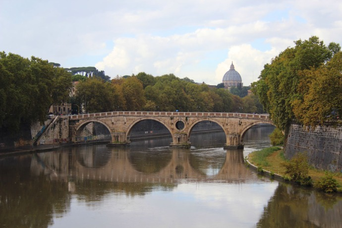 Rome Tevere River reflection, bridge & dome