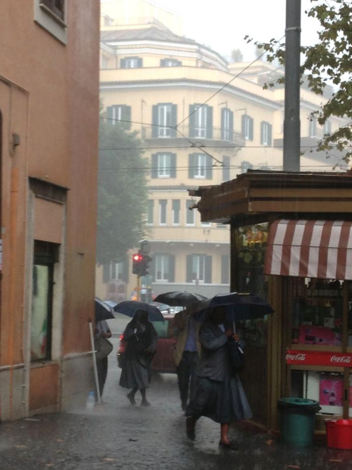 Rome Trastevere downpour