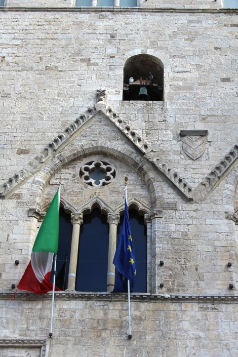 Todi flags, pigeons, bell