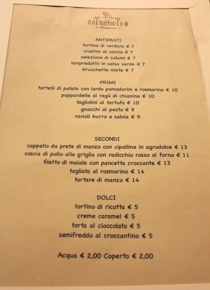 Arezzo Anticafonte menu courses