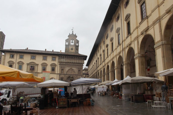 Arezzo antique fair piazza bell tower