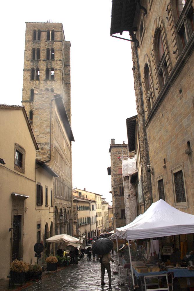 Arezzo vert street bell tower