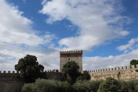 Castiglione del Lago Fortress, olives, sky