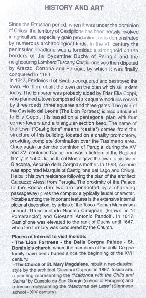 Castiglione del Lago history