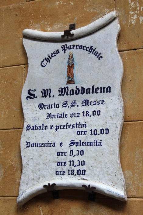 Castiglione del Lago Maddalena church sign