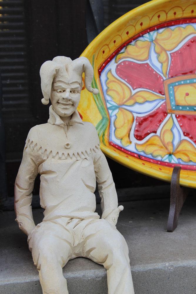 Castiglione del Lago red & yellow ceramic, jester