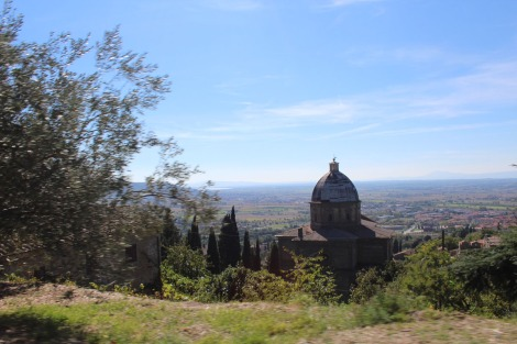 Cortona church below city